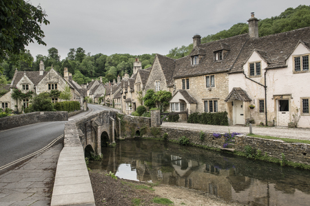 Picturesque street view of the ancient village of castle combe