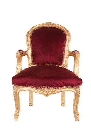Rode en gouden victorian oude antieke stoel die bij een witte achtergrond wordt geïsoleerd Stockfoto - 88830216