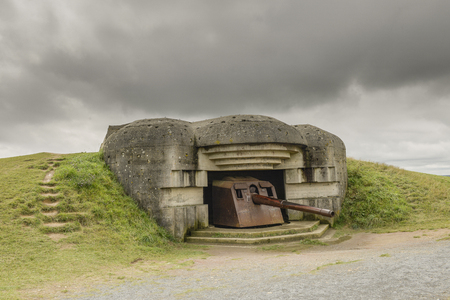 Atlantic concrete bunker and gun from world war two Stock Photo