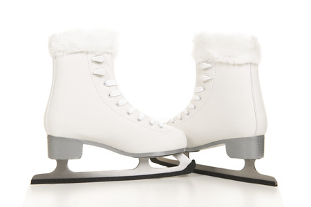 White ice skated for women on a white background Stock Photo