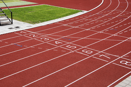 Finish of a red running track seen from a high angle