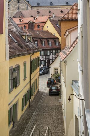Bamberg, Germany - July 14, 2019; Small picturesque street in the center of the city of Bamberg, Germany