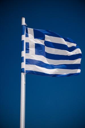 greek flag: Greek flag on blue sky