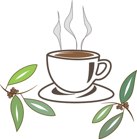 Coffee cup illustration with coffee plant and beans
