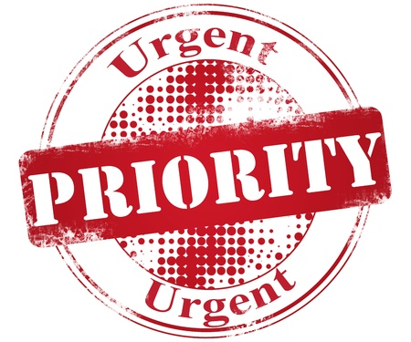 urgency: Pritority stamp Stock Photo