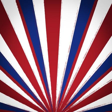 Rot, weiß und blau Sonnenstrahlen Grunge-Hintergrund Plakat Standard-Bild