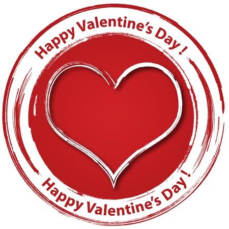 Happy Valentine s day stamp sticker illustration