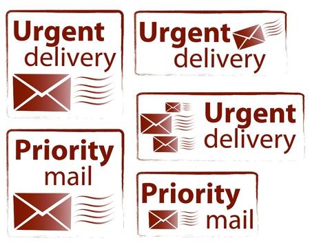 Schnelle Lieferung und Priority Mail Vektor Briefmarkensammlung