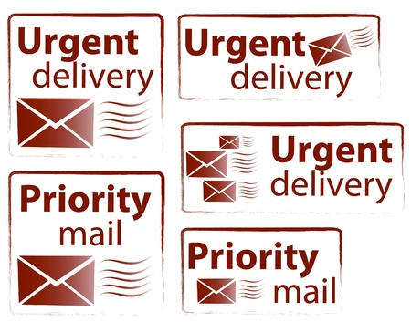priority: Urgent delivery and priority mail vector stamp collection Illustration