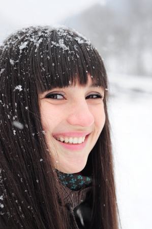 Young woman winter portrait  Close-up