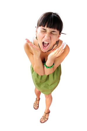 Portrait of screaming woman isolated on white background
