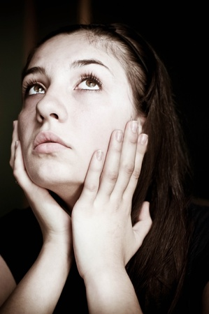 Closeup portrait of depressed teenager girl Stock Photo - 13354891