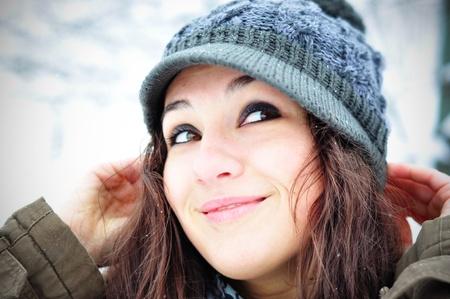 Happy girl in winter set-up Stock Photo