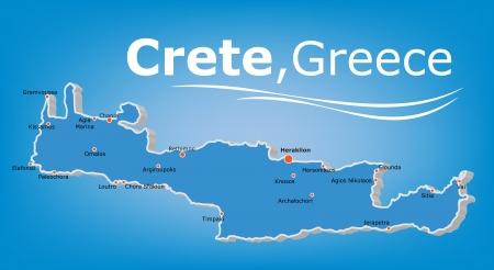 Island of Crete Map, Greece