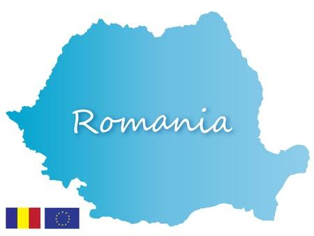 romania flag: Romania map  Illustration