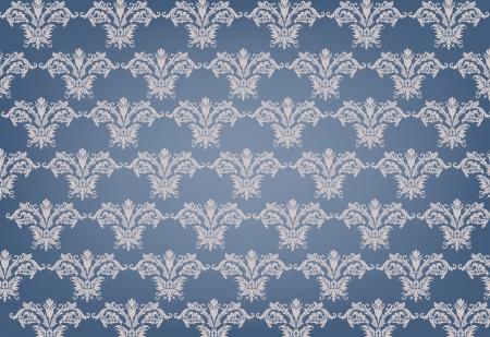 Seamless retro blue damask pattern Illustration