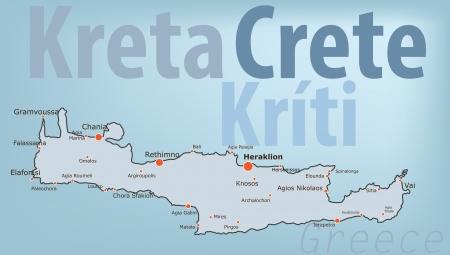 Crete island vector map Illustration