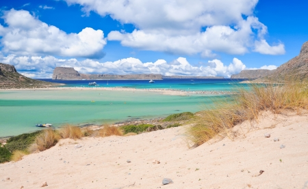 Balos lagoon and Gramvousa island, Crete, Greece photo