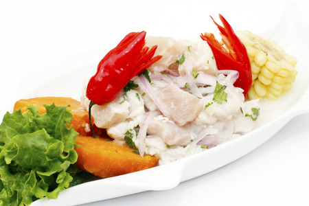 Ceviche - Fish fillet with chili and lemon juice Stock Photo