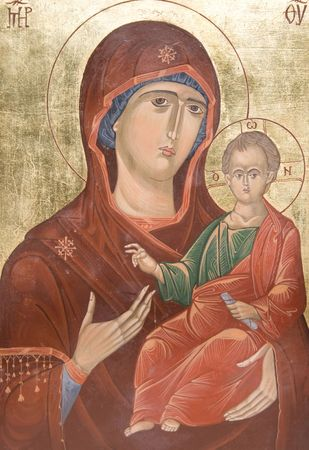 iconography: antique handmade orthodox icon representing Madonna and the young Jesus Stock Photo
