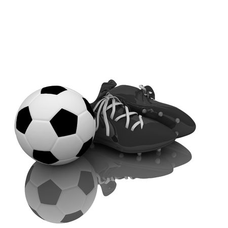 soccer boots: Soccer boots and ball isolated with clipping path Stock Photo