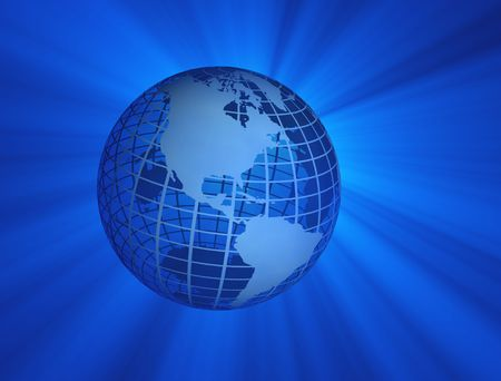 Illustration of earth globe with blue rays illustration