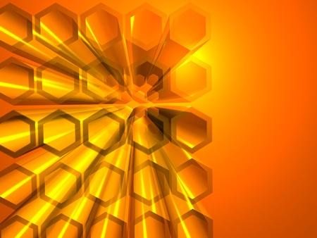 Hex�gono abstracto con la reflexi�n de luz y brillante color naranja Foto de archivo - 9171397