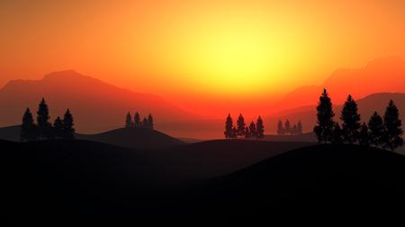 atmosfera: Hermoso ambiente con colinas de las monta�as y los �rboles Foto de archivo