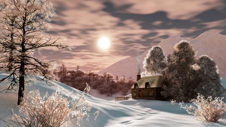 atmosfera: Paisaje de invierno con un hermoso ambiente