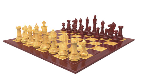 3d rendering chess board and pieces with wood texture isolated on white