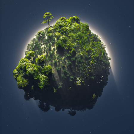 vegetation: 3d illustration small planet with vegetation surrounded by fog