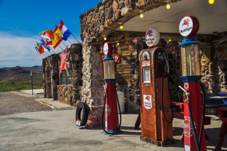Restored antique gas pumps on route 66 in Cool Springs, Arizona