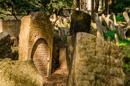 Tombstones at the old Jewish cemetery in the Josefov ghetto area of central Prague