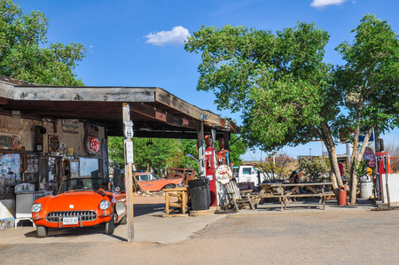 HACKBERRY, AZ - MAY 15, 2013  A classic corvette outside the antique Hackberry General Store