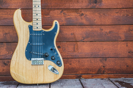 PRAGUE, CZECH REPUBLIC - MAY 24, 2014  Fender stratocaster wooden electric guitar, product shot