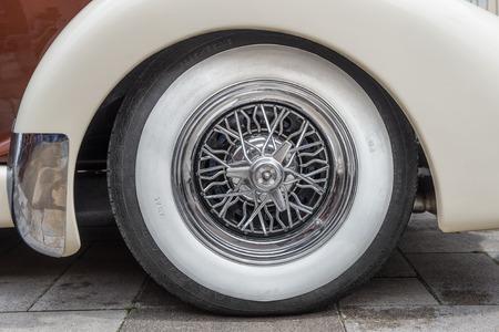 PRAGUE, CZECH REPUBLIC - JUNE 21, 2014  Vintage tire on the Auburn 851 Supercharged speedster  Auburn Speedster was an American car produced in Auburn, Indiana from 1925 through 1937