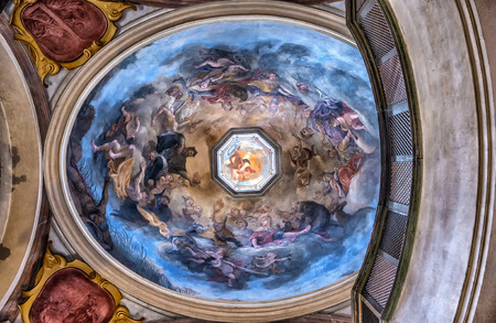 PRAGUE, CZECH REPUBLIC - JUNE 26, 2014   Interior dome of the St  George
