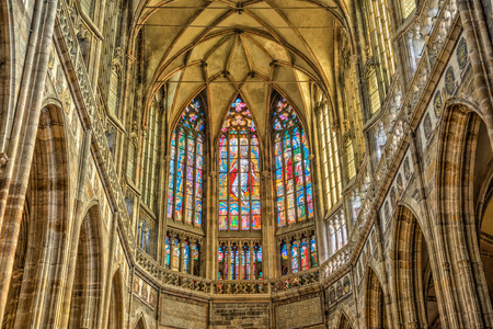 PRAGUE, CZECH REPUBLIC - JUNE 27, 2014  Stained windows in St  Vitus Cathedral located within Prague Castle, Czech Republic