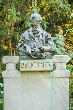Bruckner bust in Stadtpark, Vienna. Anton Bruckner was an Austrian composer known for his symphonies, masses, and motets.