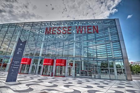 messe: VIENNA, AUSTRIA - JULY 18, 2014: Vienna exhibition center, Austria. Messe Wien (English: Trade Fair of Vienna) is the biggest trade fair in Austria. Hdr image.