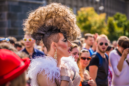 PRAGUE, CZECH REPUBLIC - AUGUST 16, 2014: Participant of the Prague Pride Parade, a festival of tolerance and against homophobia in Czech Republic 에디토리얼
