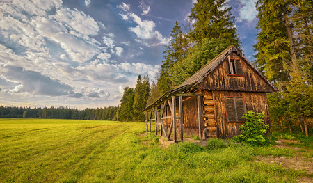 Discarded wooden cabin  in the wilderness. Hdr image. photo