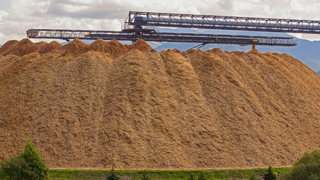 shredder machine: Large wood chip processing facility in the mountains