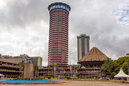 NAIROBI, KENYA - OCTOBER 20, 2014 : Kenyatta International Conference Centre located in the central business district of Nairobi Redakční