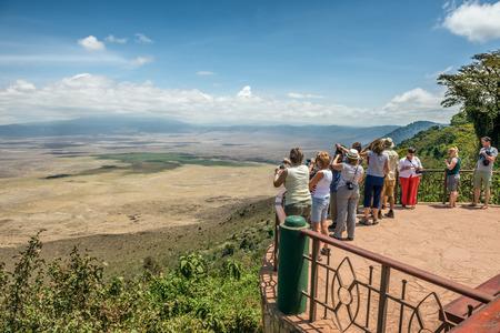 crater highlands: NGORONGORO, TANZANIA - OCTOBER 21, 2014 : View over  Ngorongoro  Conservation Area. Ngorongoro Crater is a large volcanic caldera and a wildlife reserve.