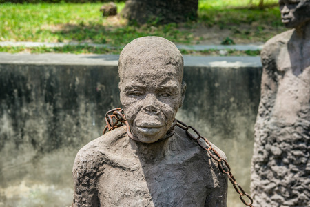 Slavery Memorial in Stone Town, Zanzibar, Tanzania. Slave auction was held near this location for many years.