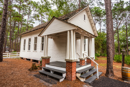 settler: LARGO, FLORIDA - JANUARY 14, 2015 :  Harris School in the Pinellas County Heritage Village. The original schoolhouse was located on Haines Road in St. Petersburg and was used until 1923.