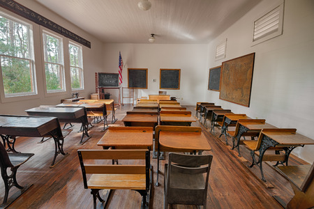 schooldesk: LARGO, FLORIDA - JANUARY 14, 2015 :  Harris School in the Pinellas County Heritage Village. The original schoolhouse was located on Haines Road in St. Petersburg and was used until 1923.