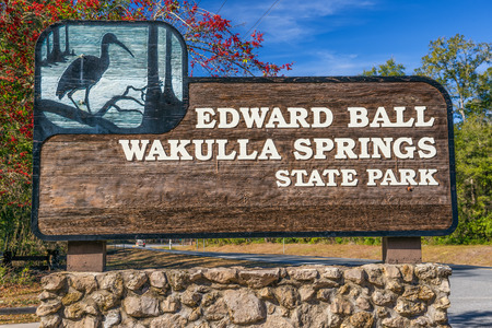 tallahassee: Edward Ball Wakulla Springs entrance sign.  This florida state park is located south of Tallahassee, Florida.
