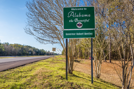 road sign: Welcome to Alabama road sign on US-84